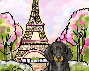 Dachshund Art Print Black and Tan (8x10 to 16x20 inch Paper and Canvas prints) Reproduction Luster Dogs Pets Paris Eiffel Tower Romantic