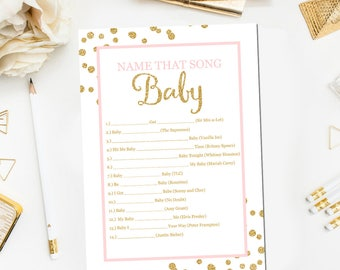Name That Song Baby, Pink and Gold Baby Shower Game, Girl Baby Shower Printable, Printable Game,  Instant Download, Baby Girl Shower, BB20