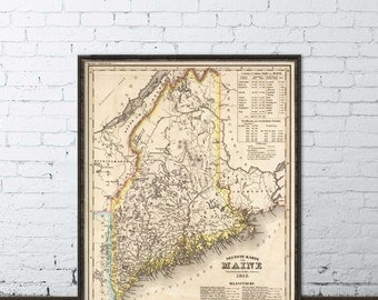 Old map of Maine - Historical map restored - Wall map giclee print