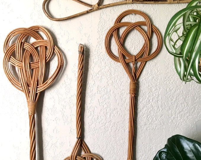 Vintage French Style Rattan / Bamboo / Wicker Carpet Beater - Multiple Styles