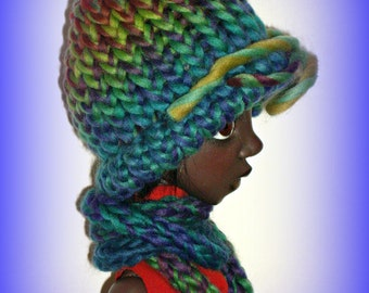 """Hand Knit Doll Hat and Scarf Set, """"Blue Peridot"""" Soft Acrylic, Handmade to fit 54 cm 21"""" Kaye Wiggs Tobi Doll, MSD BJD, by traveller240"""