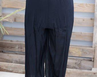 90's Semi Sheer Black High Waisted Trousers - Harem Pants