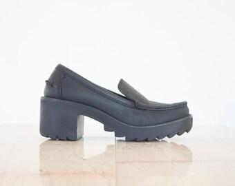 90s Chunky Black Platform Leather Loafers / Women's Size 7.5 US - 38 Eur - 5.5 UK