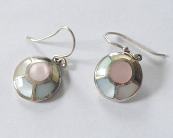 SALE Vintage Sterling Silver Pastel Mother of Pearl Shells Disc Dangle Earrings