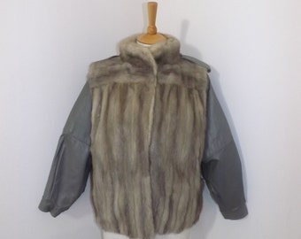 Vintage 1970s real silver grey sapphire mink fur and leather bomber style jacket short coat size Medium UK 12 14