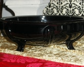 Black Amethyst Glass - Large Three Footed Scrying/Gazing Bowl - L. E. Smith 1920s Art Deco