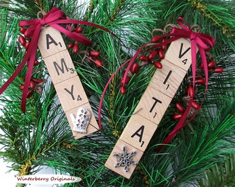Personalized Scrabble Tile Ornament w/Pewter Charm - Stocking Stuffer - Co-Worker Gift