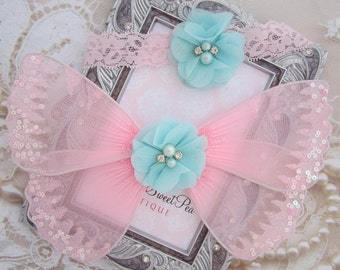 Pink and Aqua Baby Butterfly Wing Set for newborn prop, newborn photographers, new baby, baby girl, baby wings by Lil Miss Sweet Pea