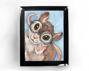 Cute Mouse Custom Size Print, Nerd Love, Hipster Glasses, Nursery Decor, Animal Wall Art, Nerdy Gift, Bedroom Print, Fancy Rat, Pet Owner
