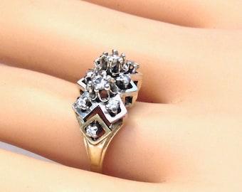 Sale! 14K Vintage Diamond 1.00 Carat Cluster Engagement Ring, Two Tone Gold, Statement Ring