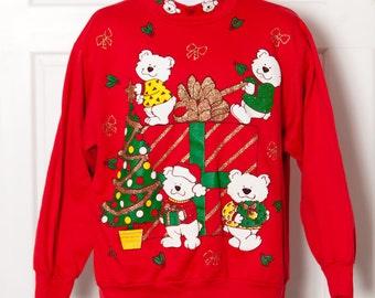 Vintage 80s Awesome Christmas Sweatshirt - Cute Bears - L