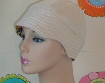 Women's Cancer Hats Chemo Caps Hair Loss Hats. Made in the USA. Cream ( For Size Guide, see 'Item Details' below photos)MEDIUM