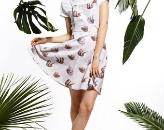 Handmade sloth pinafore, sloth dress