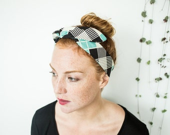 Vintage wire headband, dolly bow headband, turban headband, twisted wire headband, retro headband , dolly bow, turquoise black and white