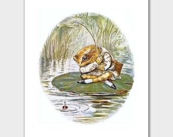 "Baby Wall Decor (Beatrix Potter Fishing Print, Woodland Nursery) ""Fishing Frog"" -- Peter Rabbit's Friends"
