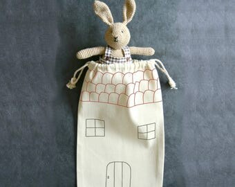 Handpainted totebag house for bunny
