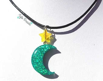 Teal Moon - Resin necklace