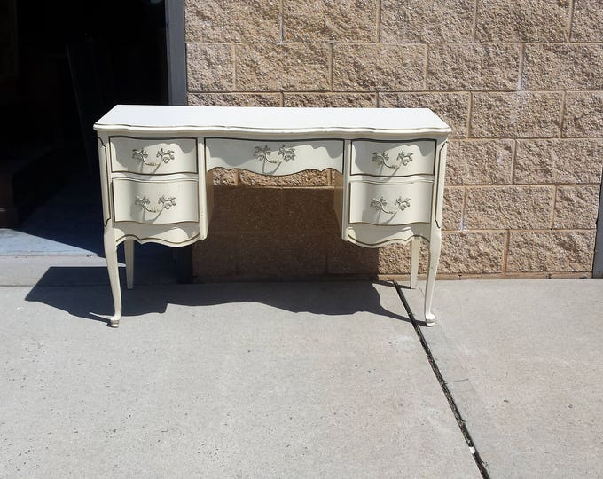 Vintage French Vanity Shabby chic desk, PICK UP ONLY, painting inc., french country bedroom, france vanity, french provincial desk,