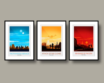 Star Wars Episodes 1-3 Movie Poster Set - Poster Art Print - Wall Art - Poster Print set