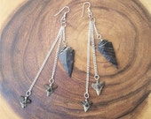 Black Jasper Arrowhead and Shark Tooth Earrings