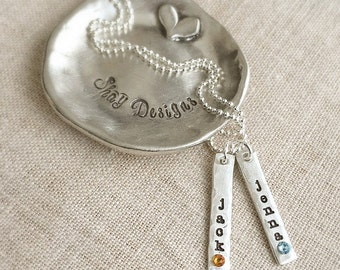 Mother Necklace . Birthstone Necklace . Personalized Jewelry . Name and Birthstone Necklace . Name Necklace . mommy jewelry . gift for mom