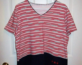 Vintage Ladies Red, White & Blue V Neck T Shirt Top by Russ Extra Large Only 6 USD