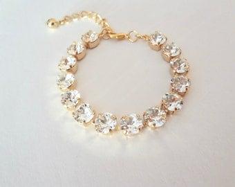 Gold crystal Bracelet ~ Swarovski, Wedding bracelet, Bridal bracelet, Chunky, Tennis bracelet, Brides bracelet, Bridesmaids bracelet, SOPHIA