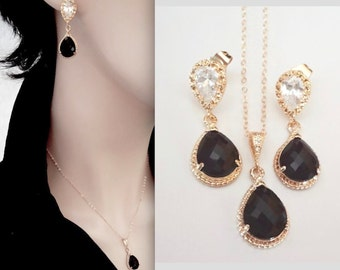 Black and gold necklace and earrings set - Black Czech glass ~ Gold filled chain - 14k Gold over Sterling posts - Bridal jewelry set ~
