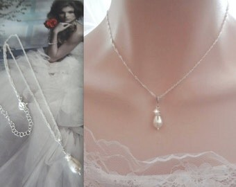 Pearl necklace ~ Brides necklace ~ Pearl drop necklace - Sterling silver - Wedding necklace ~ High Quality - Bridal Jewelry ~ ANNIE