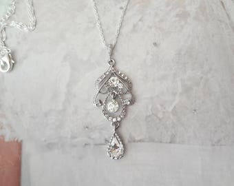 Crystal necklace ~Long chandelier necklace ~ Crystal wedding necklace~ Art deco necklace -Brides crystal necklace ~ RACHEL