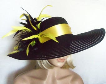 Womens Black Hat - Yellow and Black Feathers - Kentucky Derby Hat, Garden Party Hat or Victorian Tea Party
