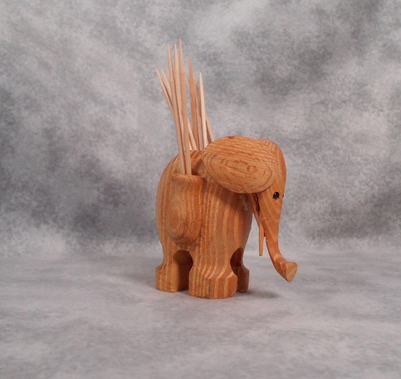 Vintage wooden elephant toothpick holder hand made style of - Wooden pocket toothpick holder ...