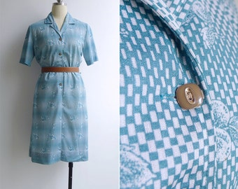 Vintage 70's Fruit Print Teal Blue Op Art Dress M or L