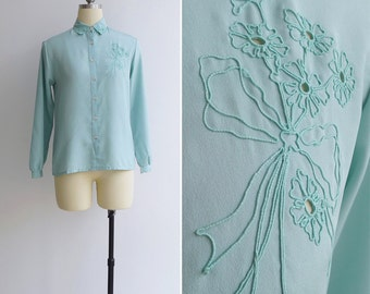 15% SALE (Code In Shop) - Vintage 80's Turquoise 'Floral Bouquet' Soutache Embroidered Blouse XS or S