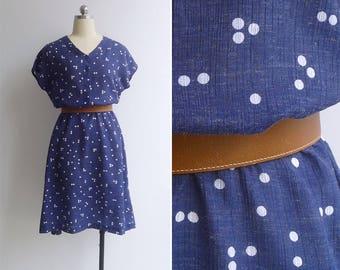 Vintage 80's 'Game Of Dominoes' Navy Blue Blouson Spot Print Dress M L XL