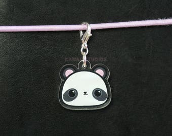 Kawaii Panda Lobster Clasp Acrylic Charm- Planner Charm, Stationery, Jewelry
