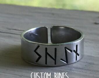 Silver Rune Ring - Custom - Women Viking - Norse Ring - Viking Ring - Viking Wedding - Pagan Ring - Elder Futhark - Runes - Vikings - Wiccan