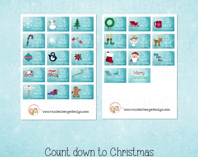 Sale! Planner Calendar Stickers- Count Down to Christmas