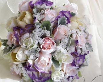 Romantic wedding bouquet Real touch and silk flowers Rose, tulip, lissianthus and babies breath.  White, pink & mauve, shabby chic bouquet
