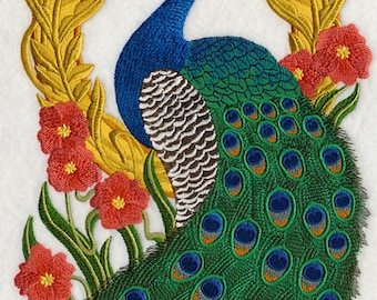 Peacock Cameo Embroidered on Kona Cotton Quilt Block // Plain Weave Cotton Dish Towel // Also Available on Other Items
