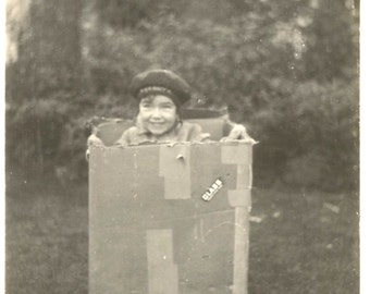 """Vintage Photo """"Jack In The Box"""" Cute Little Boy Cardboard Box Shipping Box Beret Sailor Hat Found Photo"""