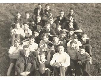 "Vintage Snapshot ""The Team"" Football Team High School All-Boys Prep School Cheerleader Semaphore Jughead Hat Coach Black & White Found Photo"