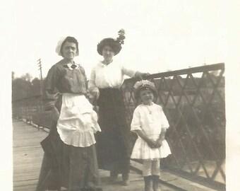 "Vintage Photo ""The Nursemaid"" Nanny Victorian-Era Woman & Daughter Governess Servant Apron Found Photo Victorian Dress Hat"