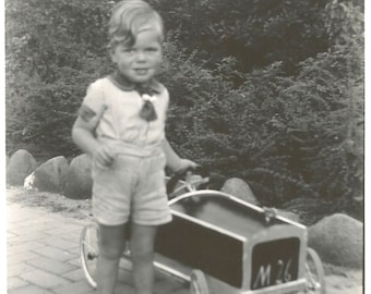 """Vintage Snapshot """"Tommy's First Wheels"""" Pedal Car M26 Race Car Cute Little Boy Found Photo"""