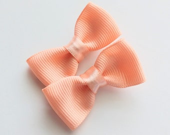 Small peach pigtail hair bows--2.5 inch mini tuxedo style hair accesories--perfect accessories for baby toddler big girls and adults, too