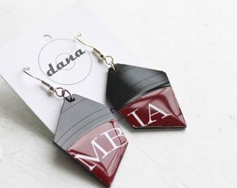 vinyl disc earrings dark red earrings music earrings eco friendly earrings recycled jewelry unique jewelry funky jewelry colorful jewelry