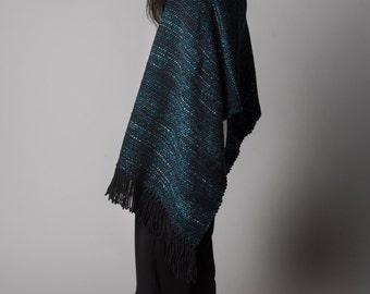 Pashmina Wrap Shawl, Large woven wrap, Ombre Blue Weave Tasseled Fringed