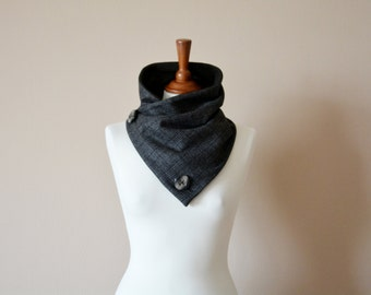 Gift for him, Grey cowl scarf, Tartan scarf, Men's gift, Unisex gift, Grey neckwarmer, Wool scarf, Wool cowl, Prince of Wales scarf