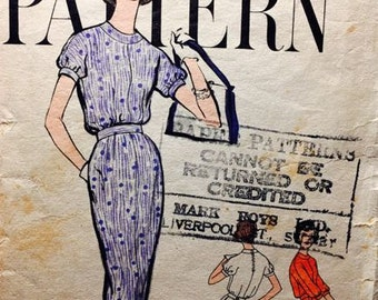 Vintage Vogue One Piece Dress pattern 1958