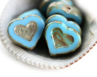 Turquoise Blue Heart beads, Picasso czech glass beads, table cut, blue glass hearts - 14mm - 6Pc - 0002